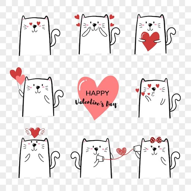 De leuke die hand van het kattenbeeldverhaal voor de dag van valentine wordt getrokken Premium Vector