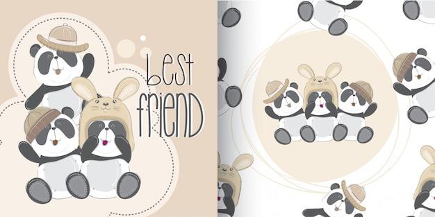 De leuke geplaatste panda-patroon, hand trekt illustratie-vector Premium Vector