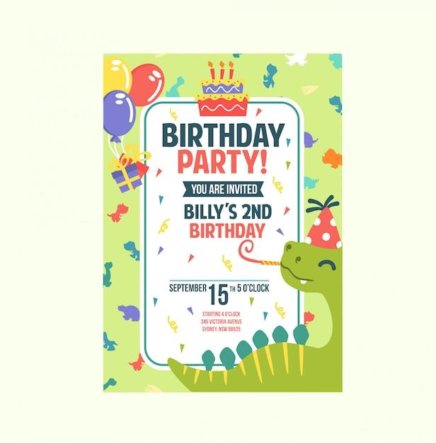 De leuke groene kleurrijke kaart van de de uitnodigingsverjaardag van het dinothema Premium Vector
