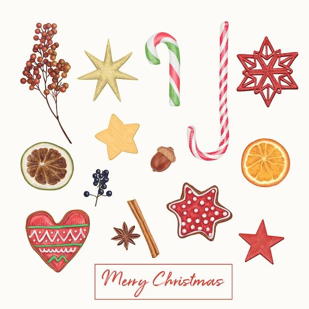 De leuke hand getrokken decoratie van kerstmis Premium Vector