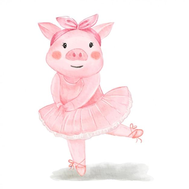 De leuke illustratie van de varkensballerina waterverf Premium Vector