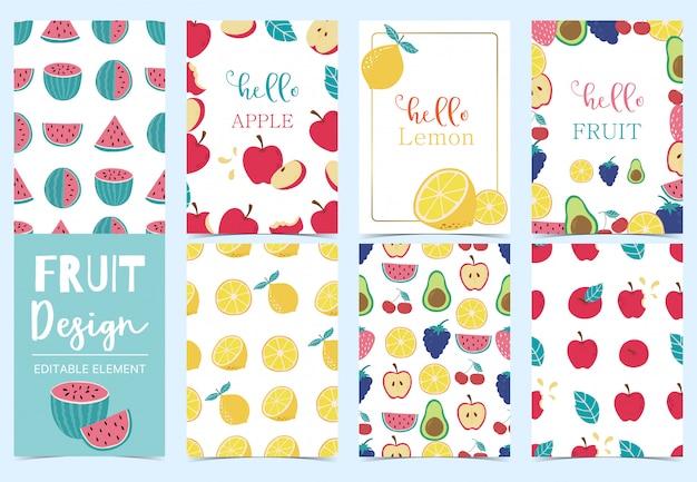 De leuke inzameling van de fruitkaart die met appel, druif, kiwi, avocado, citroen vectorillustratie wordt geplaatst Premium Vector