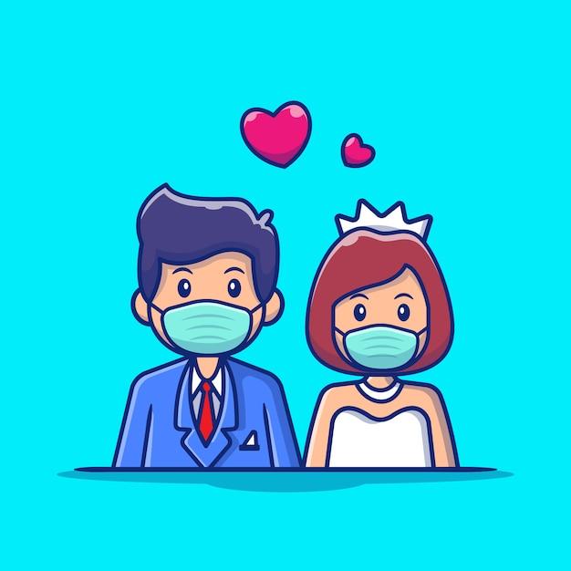 De leuke man en de vrouw die van het paarhuwelijk het pictogramillustratie dragen van het maskerbeeldverhaal. het pictogramconcept geïsoleerde premie van het mensenhuwelijk. flat cartoon stijl Premium Vector