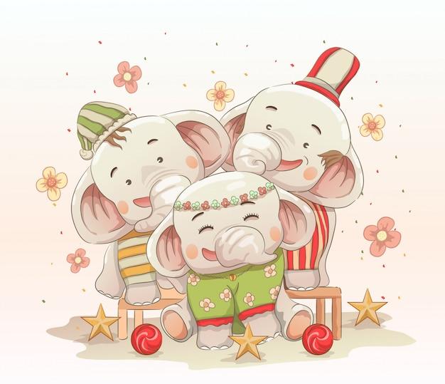 De leuke olifantsfamilie viert samen kerstmis. vector hand getekend cartoon kunststijl Premium Vector