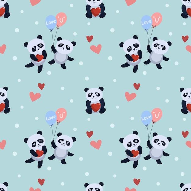 De leuke panda draagt met ballon en hartpatroon. Premium Vector