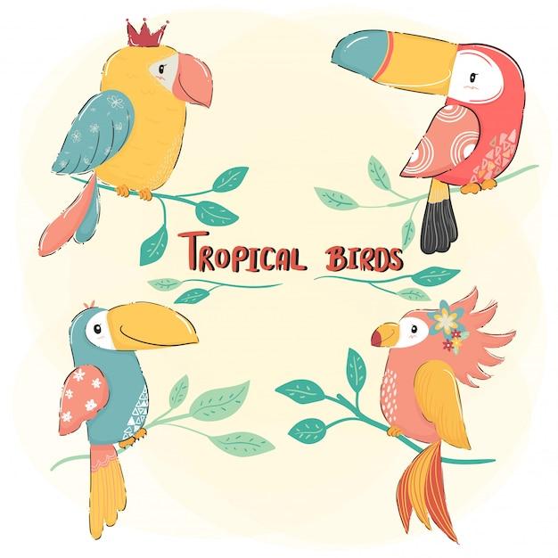 De leuke reeks van de tekenings vlakke vector tropische vogel, de kleurrijke zomer Premium Vector