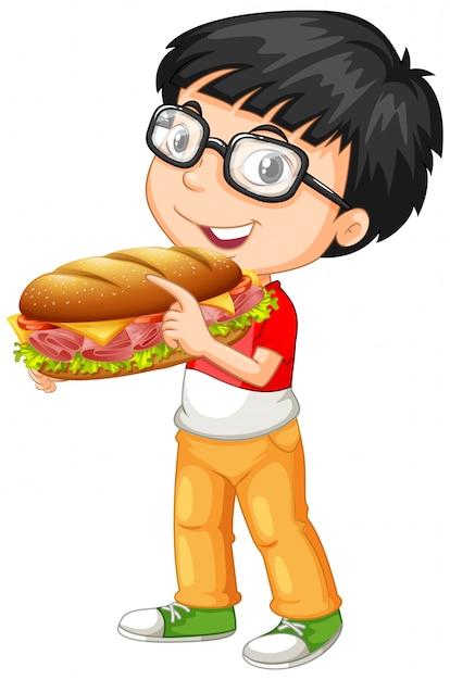 De leuke sandwich van de jongensholding Gratis Vector