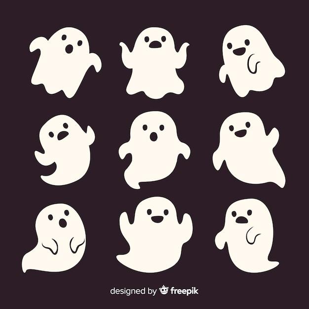 De leuke spoken van beeldverhaal witte smiley halloween Gratis Vector