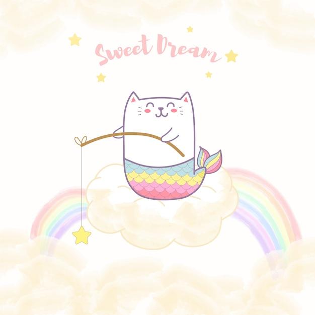 De leuke zitting van de kattenmeermin op de wolk die een ster met regenboog houden Premium Vector