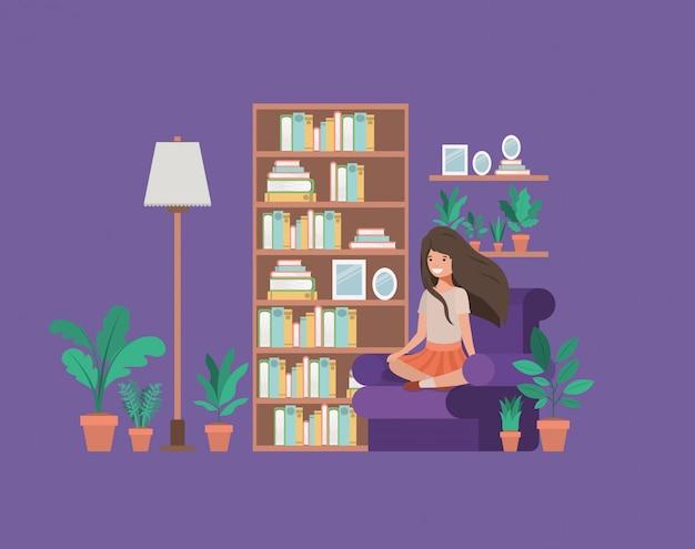 De lezingsboek van de studentenzitting in woonkamer Premium Vector