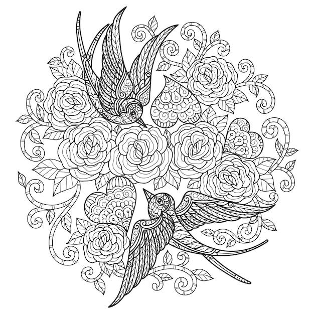 De liefde van de zwaluw. hand getrokken schets illustratie voor kleurboek voor volwassenen. Premium Vector