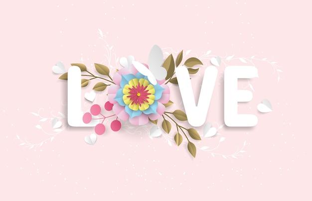 De liefdeswoordenschat bestaat uit bloemen en vlinders die eruit zien als een papieren snit, geplaatst in een roze achtergrond Premium Vector