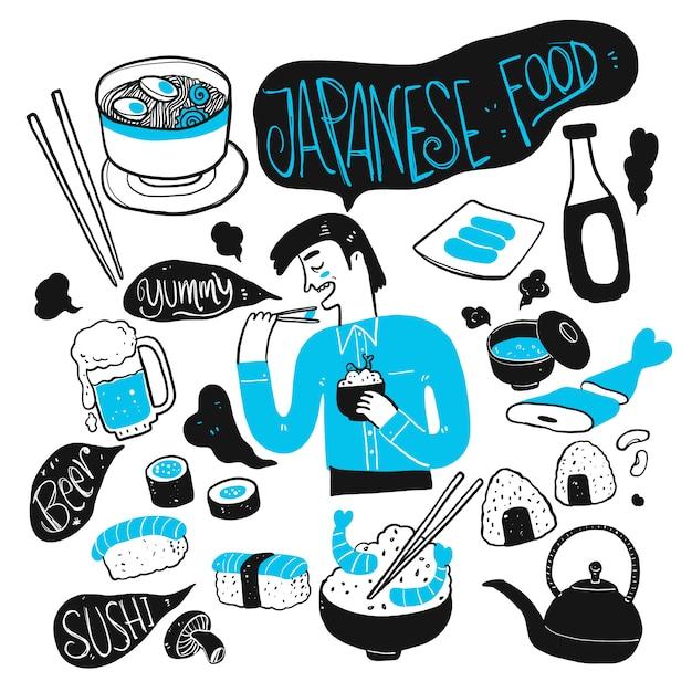 De man en het japanse eten. verzameling van hand getrokken, vectorillustratie in schets doodle stijl. Premium Vector