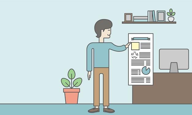 De man met een baard presenteert zijn rapport via infographics in office. rapportage concept. Premium Vector
