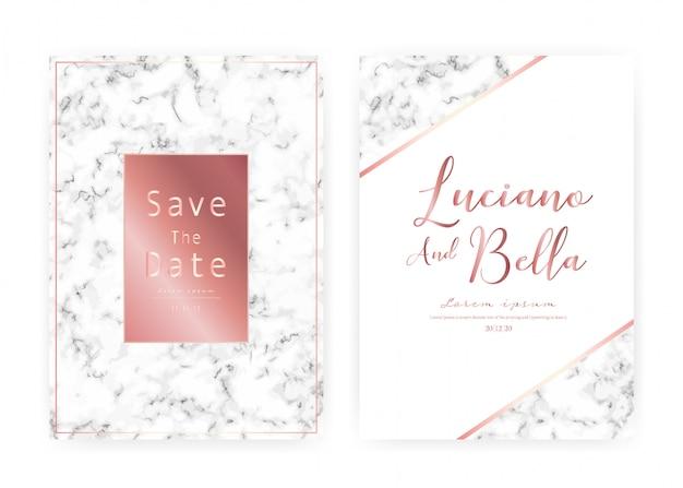 De marmeren kaart van de huwelijksuitnodiging, sparen de kaart van het datumhuwelijk, modern kaartontwerp met marmeren textuur Premium Vector