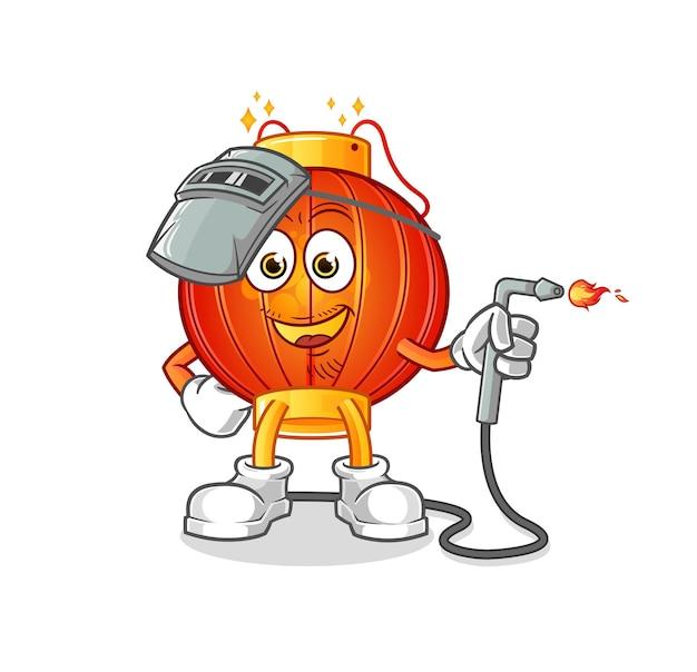 De mascotte van het chinese lantaarnlasser Premium Vector