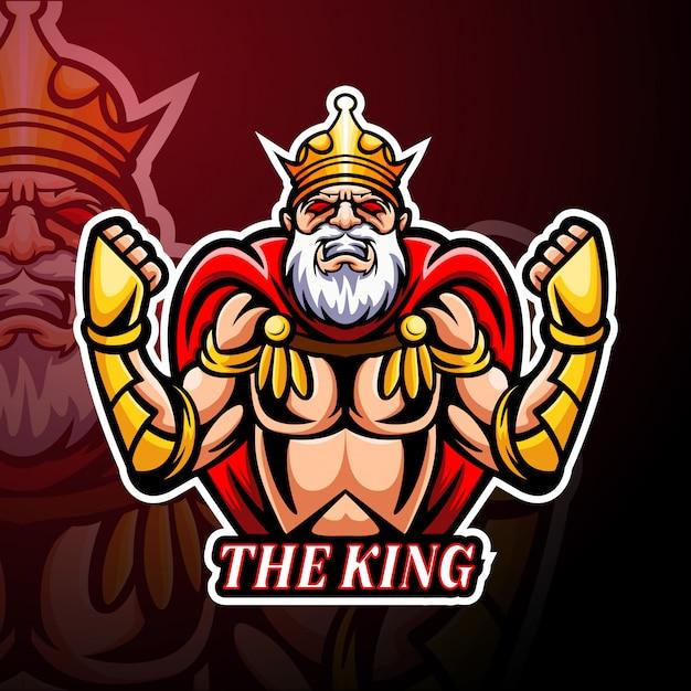 De mascotte van het king esport-logo Premium Vector