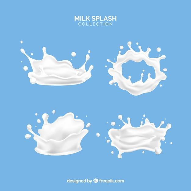 De melk bespat inzameling in 3d stijl Gratis Vector