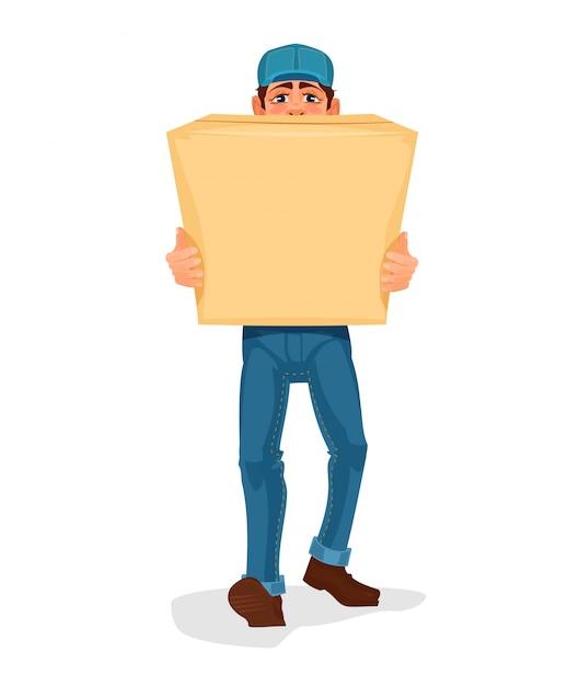 De mens draagt een kartonnen doos Gratis Vector