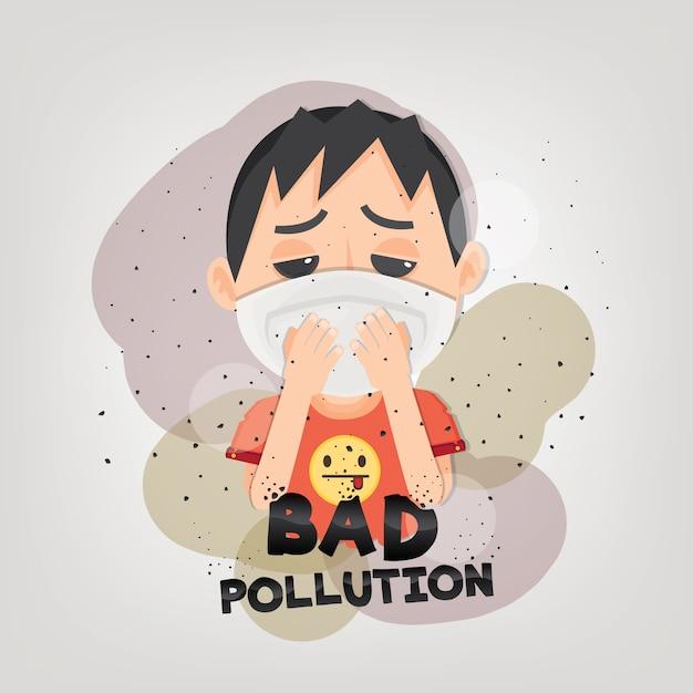 De mens draagt n95-masker om de buitenluchtvervuiling te beschermen. Premium Vector