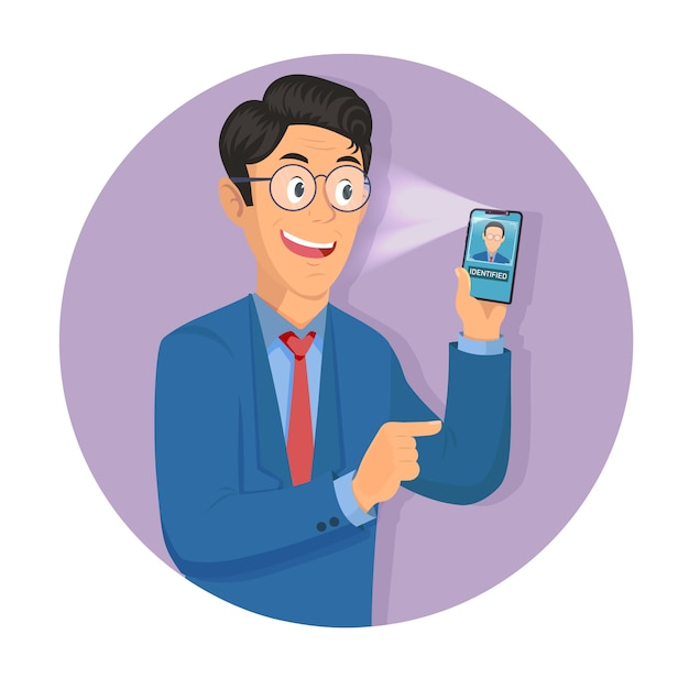 De mens houdt smartphone in zijn hand voor het krijgen van toegang tot apparaat via gezichtsherkenningstechnologie. Premium Vector