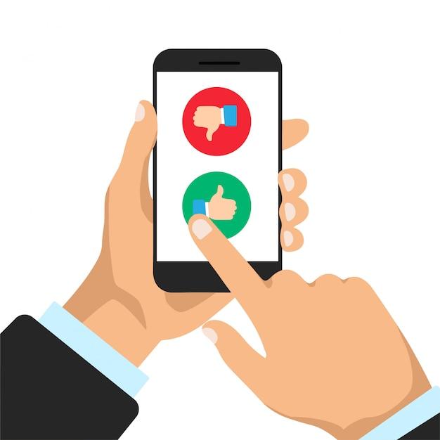 De mens kiest al dan niet op een telefoondisplay. duim omhoog en duim omlaag op een smartphone. illustratie. Premium Vector