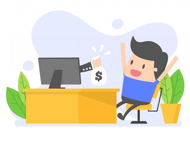 De mens krijgt geld van online zaken. Premium Vector