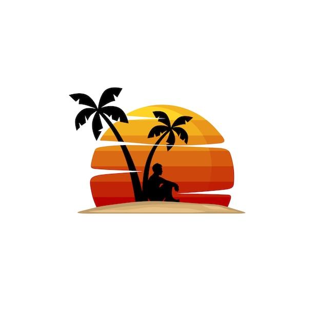 De mens op strand zit onder palm Premium Vector