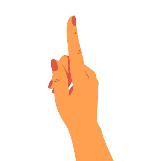 De menselijke hand wijst naar boven. Premium Vector
