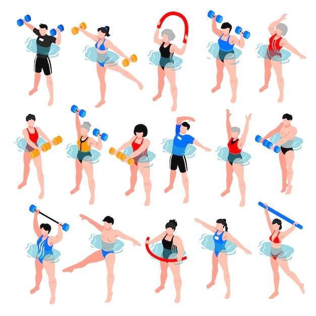 De menselijke karakters met sportmateriaal tijdens de klassenreeks van de aqua-aerobics van isometrische pictogrammen isoleerden illustratie Gratis Vector