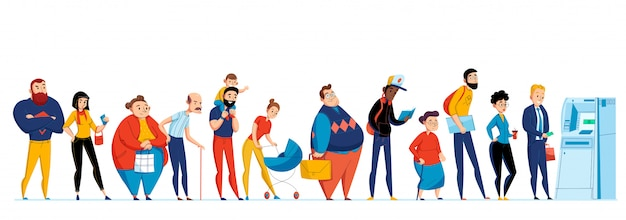 De mensenpictogram van de rij die met verschillende mensen wordt geplaatst die overeenkomstig de illustratie van atm wachten Gratis Vector