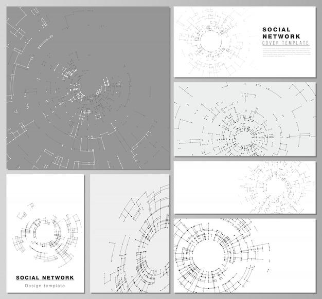 De minimalistische abstracte vectorlay-outs van moderne sociale netwerkmodellen Premium Vector