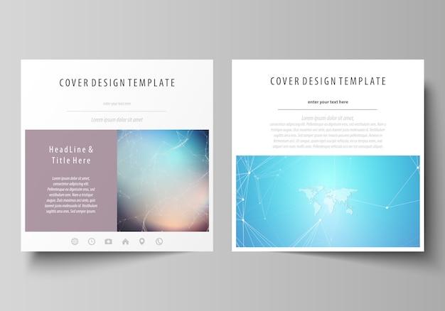 De minimalistische lay-out van twee vierkante formaten omvat sjablonen Premium Vector