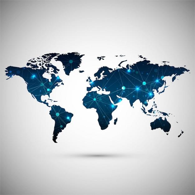 De moderne achtergrond van de wereldkaart Gratis Vector