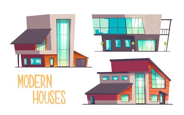 De moderne die reeks van het huizenbeeldverhaal op wit wordt geïsoleerd Gratis Vector