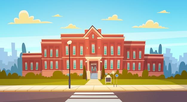De moderne schoolbouw buitenkant met zebrapad welkom terug naar onderwijsconcept Premium Vector