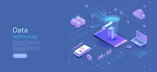 De moderne zaken van het ontwerp isometrische concept smartphone op blauwe achtergrond en infographic elementen. 3d isometrisch plat ontwerp. vector illustratie. Premium Vector