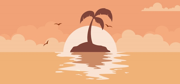 De mooie achtergrond van de de zomerzonsondergang met zon op het strand Premium Vector