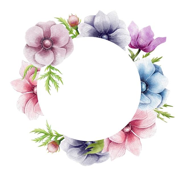 De mooie anemoonbloemen omcirkelen grens Premium Vector