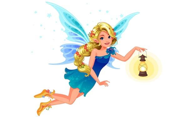 De mooie fee die van de blonde blauwe vleugel een lantaarn houdt Premium Vector