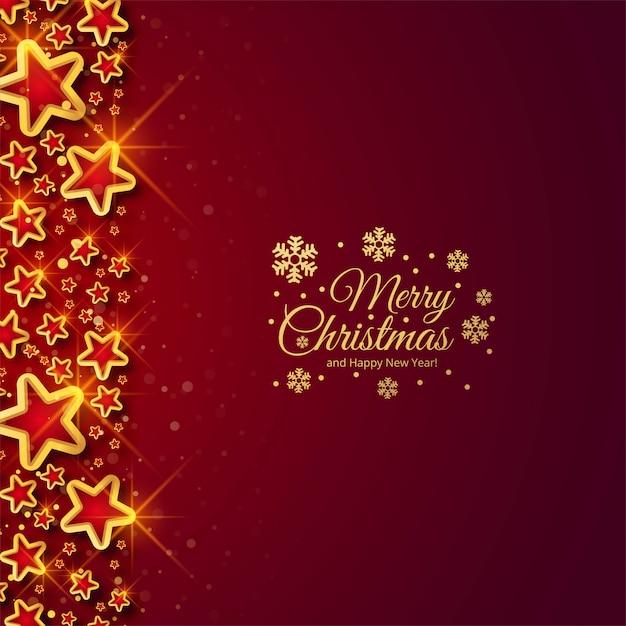 De mooie glanzende viering van kerstmissterren voor rode achtergrond Gratis Vector