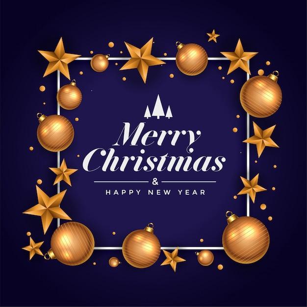 De mooie vrolijke groet van het kerstmisfestival met ster en bal Gratis Vector