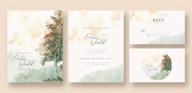 De mooie waterverf van het boomlandschap op huwelijkskaart Premium Vector