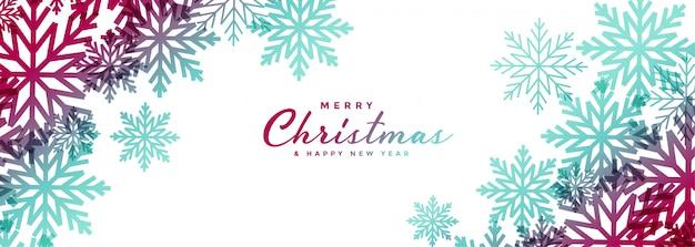 De mooie witte brede banner van kerstmissneeuwvlokken Gratis Vector