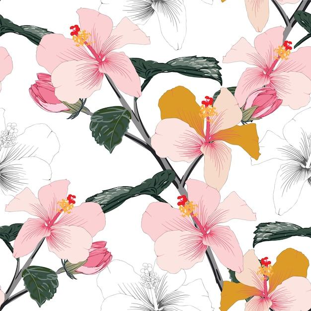De naadloze bloemen hibiscusbloemen van de patroon roze pastelkleur. Premium Vector