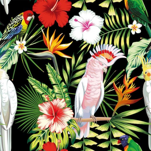 De naadloze papegaai van de patroon tropische exotische veelkleurige vogels, ara met tropische installaties, banaanpalmbladen, bloemen strelitzia, hibiscus Premium Vector