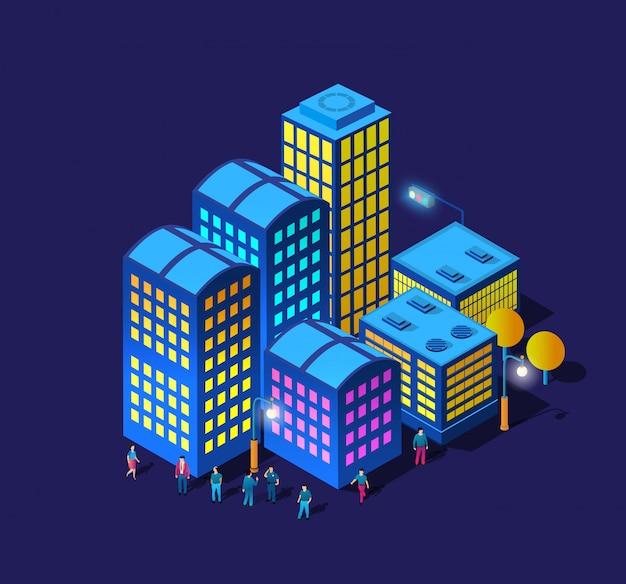 De nacht slimme stad wandelpromenade mensen 3d toekomstige neon ultraviolet set Premium Vector