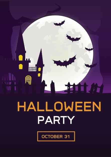 De nacht van achtergrond nacht spookhuis en volle maan Premium Vector