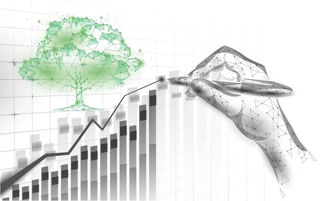 De natuur redt het bedrijfsidee van de planeet, verhoogt de winstmarketing Premium Vector