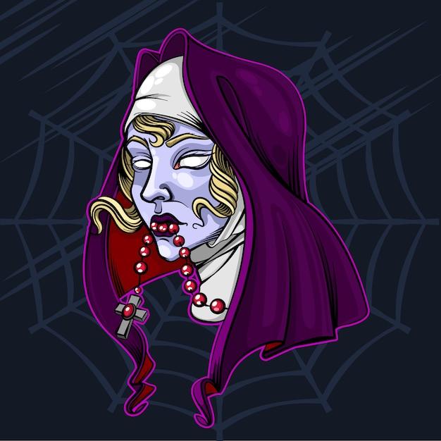 De nun zombie halloween vector illustratie Premium Vector